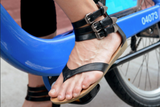 """""""As long as it doesn't fall off my feet or get caught in the pedals. Espadrilles are O.K., like wrapped around my ankle. Definitely it helps to have ankle straps."""" Emilia"""