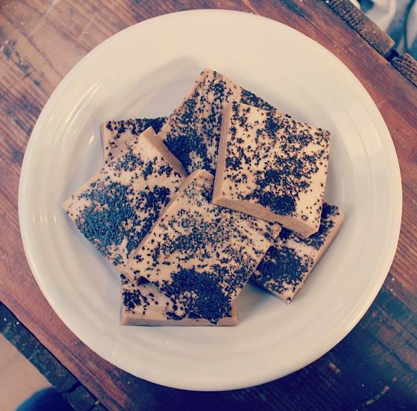The simplest gut-healing breakfast a girl can eat: coffee almond milk #gelatin chews (two ingredients: grass-fed beef gelatin with coffee almond milk).